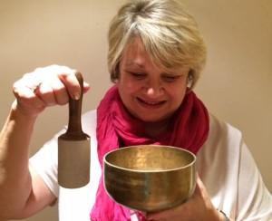 Jane with singing bowl